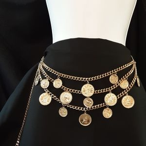 Roman Gold Coin Chain Belt Vintage